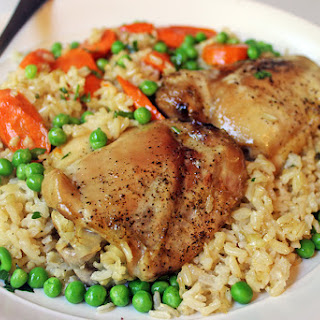 One Pan Baked Chicken & Brown Rice Casserole.