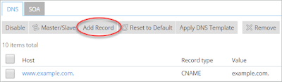 A red circle highlights the Add Record button on the DNS tab.