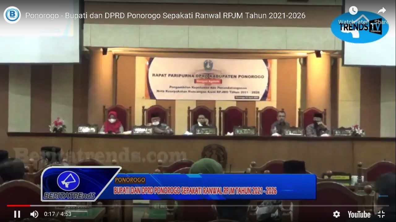 Bupati dan DPRD Ponorogo Sepakati Ranwal RPJM Tahun 2021-2026