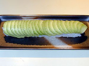 Photo: Caterpillar : Eel and Cucumber Roll covered with avocado on top.
