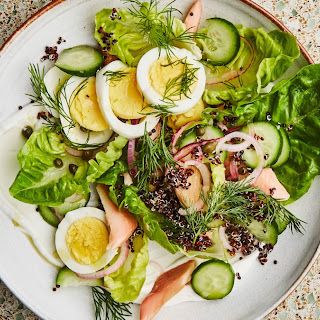 Breakfast Salad with Smoked Trout and Quinoa.