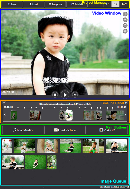 Photo slideshow editor layout