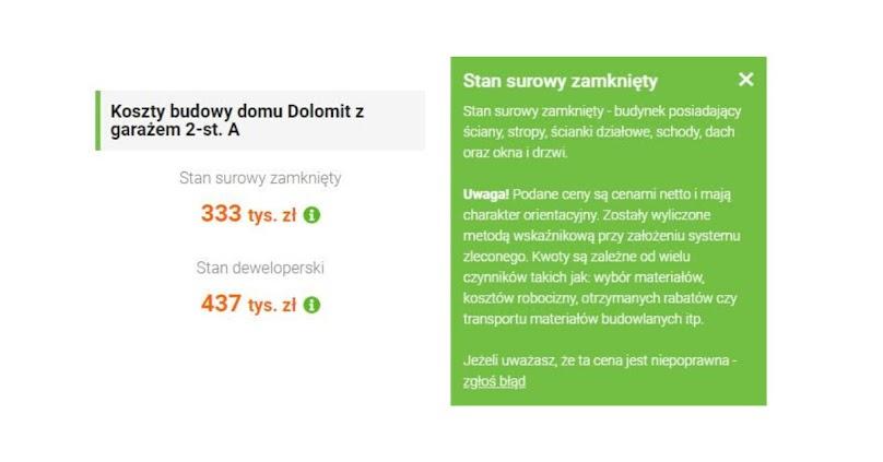 Przykładowe koszty wskaźnikowe do projektu Tooba.pl