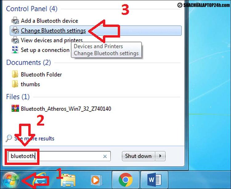 Kích hoạt Bluetooth trên Windows 7