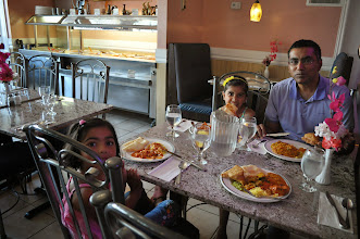 Photo: Enjoying a yummy family lunch at our favourite Indian buffet before our special shopping trip to Chapters!