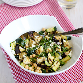 Grilled Eggplant & Zucchini Salad Recipe with Feta, Chickpeas & Mint.