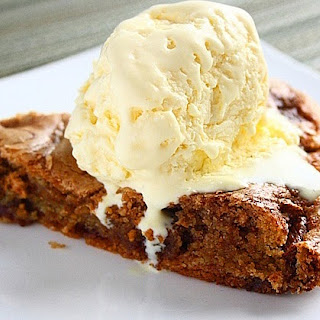Chocolate Chip Skillet Cookie with Homemade Vanilla Ice Cream.