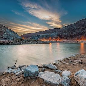 River Side by Ashraf Jandali - Landscapes Mountains & Hills
