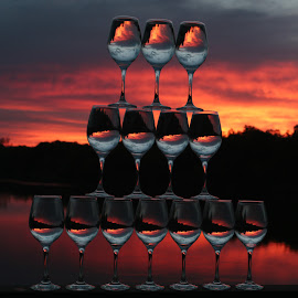 Staged  by Stefan Klein - Artistic Objects Still Life ( artistic objects, glasses, sunrise, still life, river )