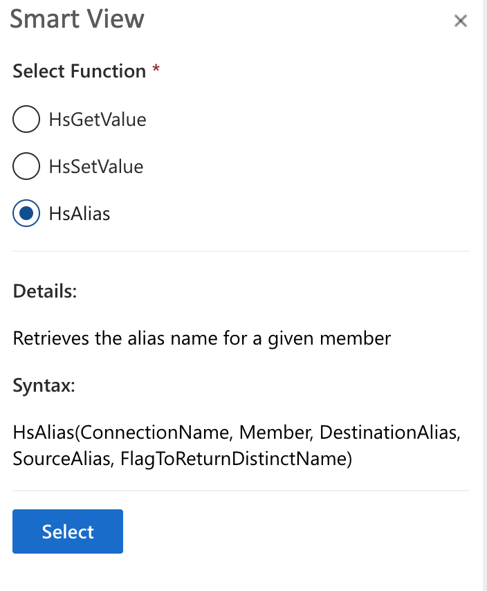 Oracle Smart View HSAlias function