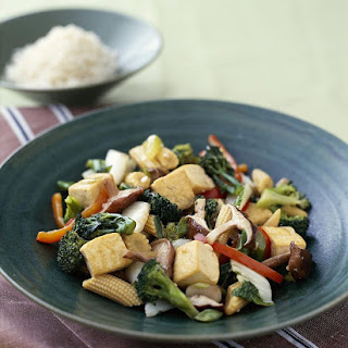 Simple Vegan Tofu and Vegetable Stir-Fry with Ginger.