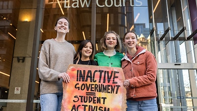 Laura Kirwin, Izzy Raj-Seppings, Ava Princi and Liv Heaton pose for a photo outside The Federal Court of Australia in Sydney, Thursday, May 27, 2021
