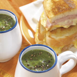 Spinach Soup with Croque Monsieurs