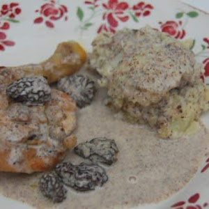 Stewed Chicken with Creamy Morel Sauce