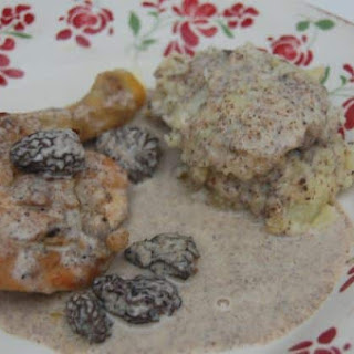 Stewed Chicken with Creamy Morel Sauce.