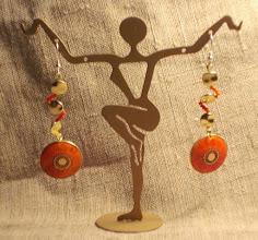Photo: <BEREHYNYA> {Great Goddess Protectress} unique one-of-a-kind statement jewellery by Luba Bilash ART & ADORNMENT  SAMSARA ~ САМСАРА (еarrings) Bone, coral, brass, 14K gold vermeil SOLD/ПРОДАНІ