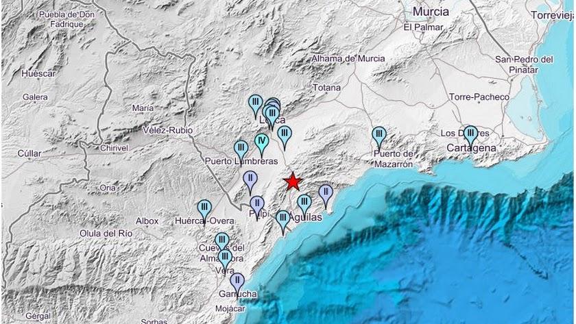 Mapa del IGN con los grados de intensidad del terremoto en los municipios.