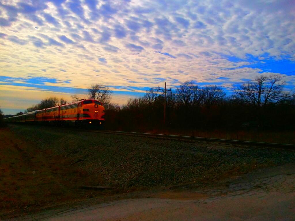 Photo: Passenger train passing through Gentry, AR