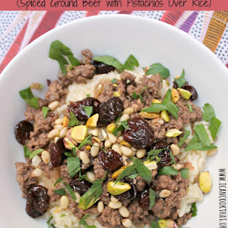 Hashweh (Spiced Ground Beef with Pistachios Over Rice).