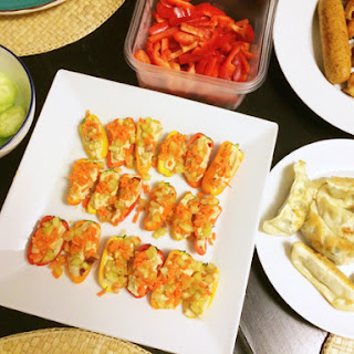 Hummus Stuffed Mini Sweet Pepper Appetizer