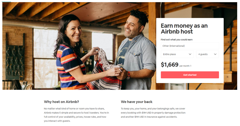 airbnb landing page