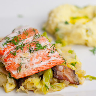 Roasted Salmon with Cabbage & Bacon