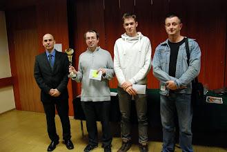 Photo: Prezes KSz Gryf Szczecin Robert Jacek, IM NIkolai Aliavdin (I m-ce), Kacepr Karwowski (II m-ce) i FM Robert Kula (III m-ce)