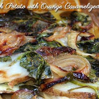 Potato Spinach with Orange Caramelized Onions.