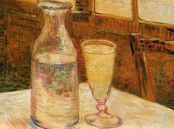"""Here is my favorite Van Gogh painting of a glass of Absinthe called """"Cafe..."""
