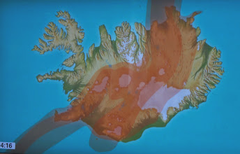 Photo: Map showing thermal areas in Iceland. (The color red, on the rift, shows the most intense thermal areas.)