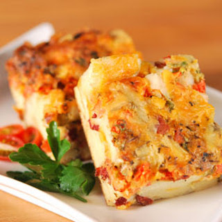 TOMATO AND BACON STRATA.