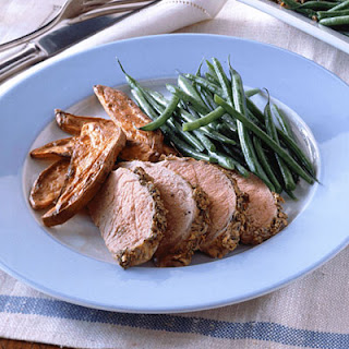 Pork Tenderloin with Dijon-Fennel Rub and Sweet-Potato Fries