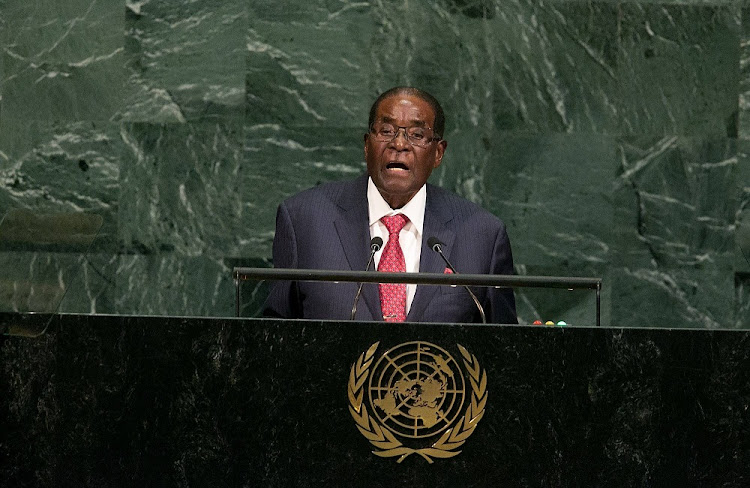 FILE PHOTO: Zimbabwe president Robert Mugabe addresses the U.N General Assembly.