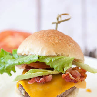 Grilled Turkey Burgers with Avocado and Bacon.
