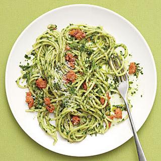 Spaghetti with Parsley Pesto and Sausage