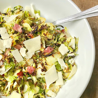 21 Day Fix Crispy Shaved Brussels Sprouts with Bacon, Parmesan, and Balsamic.