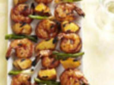 Barbecued Shrimp N Peach Kabobs Recipe