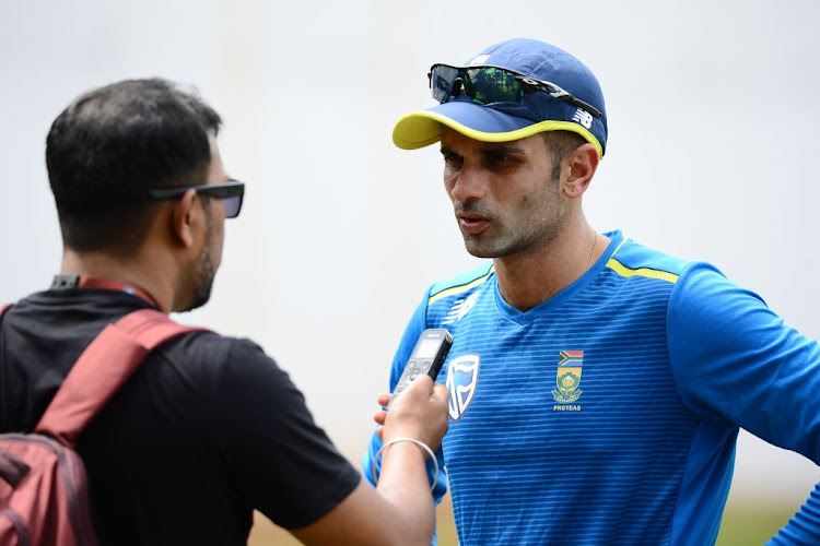 Keshav Maharaj of South Africa speaks to a journalist during a training session at Dr. Y.S Rajasekhara Reddy ACA VDCA Cricket Stadium on Septmber 30 2019 in Visakhapatnam, India.