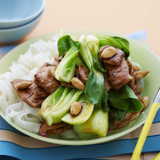 Chicken Stir Fry with Almonds and Bok Choy.