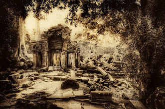 Photo: Forgotten Temple, Cambodia  I emerged from one part of the undergrowth to find these wonderful ruins. There were little human-shaped blocks all over the jungle, so I knew there must have been other little ruins overgrown just about everywhere. I can hardly imagine what it must have been like back in its prime.  from Trey Ratcliff at www.stuckincustoms.com