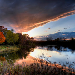 Pond Reflections by Dave Knapp - Landscapes Sunsets & Sunrises ( autumn, sunset, fall, reflections, pond, highlights )