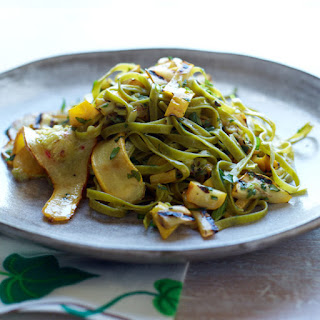 Spinach Fettuccine with Tangy Grilled Summer Squash.