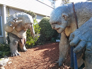 Photo: We went for a tour of Weta, the studio behind the special effects in Lord of the Rings.  These handsome chaps are guarding the entrance.