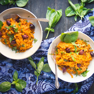 Roasted Red Pepper Arrabbiata with Sweet Potato Pasta/ Noodles.