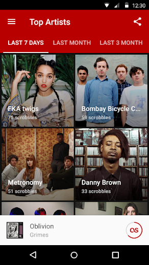 Screenshot 2 for Last.fm's Android app'