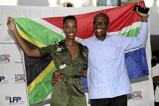 Miss South Africa Zozibini Tunzi and her father Lungisa before jetting off to the Miss Universe pageant in Atlanta in the US. /Veli Nhlapo