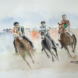 Horse race of Sumba by Alfonso Rahardja - Painting All Painting