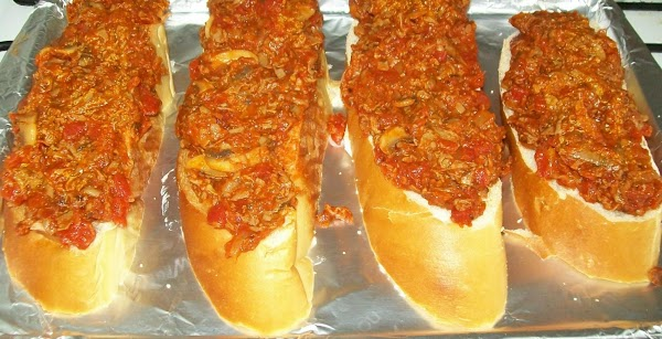 Cut the bread into 1 inch slices you'll want 8 slices and spread the...