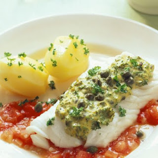 White Fish with Herb Topping and Sauce.