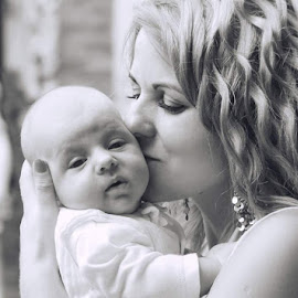 Mother love by Lucyna Zygmunt - Black & White Portraits & People